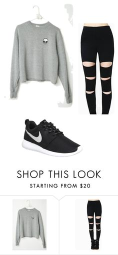 """""""Messy bun outfit"""" by grace-1025 ❤ liked on Polyvore featuring NIKE, women's clothing, women, female, woman, misses and juniors"""