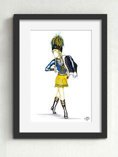 Tanzmariechen KG Treuer Husar Blau-Gelb von 1925 e.V. Köln  Das Tanzmariechen der Treuen Husaren präsentiert sich auf unserem Kunstwerk besonders anmutig. Über ihrer Schulter trägt sie den eleganten Dolman.