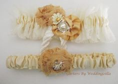 Rustic #wedding #garter set in ivory and champagne with handmade flowers and vintage lace. Shabby by nature, chic by design! Ballerina style ivory and champagne satin,  tulle... #bride #bridal #weddings #ido #bridalgarter #weddinggarterbelt ➡️ http://jto.li/WU5aC