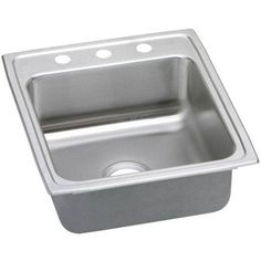 Elkay LRADQ2022553 Gourmet Lustertone Stainless Steel Single Bowl Top Mount Quick-Clip Sink with 3 Faucet Holes