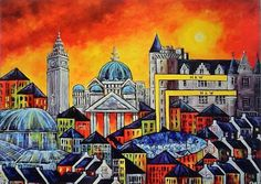 Belfast Cityscape Available in 3 sizes Mounted with mount board, (pale cream) and ready for framing Signed and numbered by the artist Labeled Belfast Castle, Belfast City, Mount Board, Irish Art, Gcse Art, Limited Edition Prints, Northern Ireland, Artwork Prints, Wall Murals