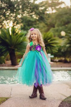 Peacock Teal Purple Green Flower Girl Tulle Tutu Dress