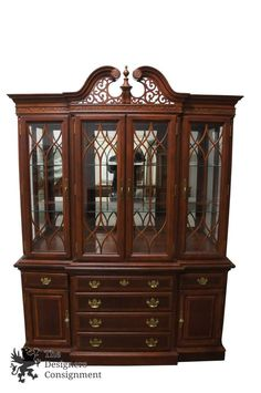 Queen Anne Style Distressed Mahogany Breakfront China Display Cabinet Hutch  Vtg | The Designers Consignment