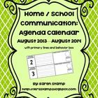 UPDATED for 2013-2014! This agenda calendar adds an essential piece to your home/school communication binder! Each page features a Monday through F...