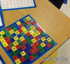 gwhizteacher, math tiles, hundred board, math center, math smart day