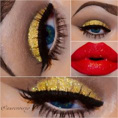 Gold eyeshadow, winged liner, and bold red lips.