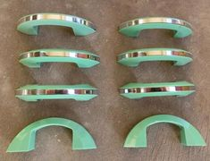 Green Bakelite & Chrome 1950s Drawer Cabinet Handles
