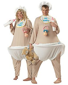 Cry Baby Adult Costumes for a Innocent look that will be a huge hit this Halloween! The Adult Baby Costume is guaranteed to make this Halloween one to remember! Meme Costume, Funny Costumes, Costume Ideas, Couples Halloween, Unique Halloween Costumes, Baby Halloween, Halloween Decorations, Pregnant Halloween, Creative Costumes