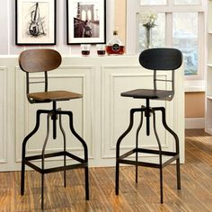 Kersey Industrial Bar Stool With Backrest In Walnut And Black