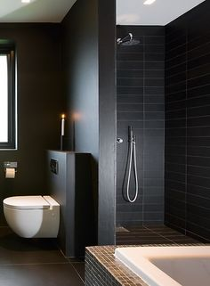 Contemporary Bathroom with great rectangular tiles
