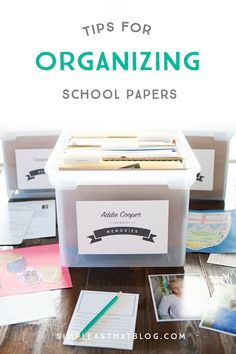Tame your child's school paper clutter with this simple filing system. Contain their precious school momentos from pre-K through grade 12 all in one place. In the post you'll find a list of supplies, free printable labels and yearly questionnaires to get Kids School Organization, Organization Hacks, Organizing School Papers, Organizing Documents, Wardrobe Organisation, Organization Station, Household Organization, Organizing Tips, School Memories