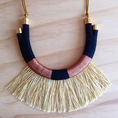 Hadiya Necklace Tribal Rope Necklace Gold Fringe por HoopoeHome
