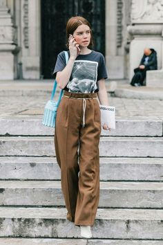 trousers and t-shirt combination