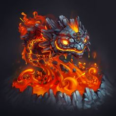 Fire Golem, Egor Moiseiev on ArtStation at https://www.artstation.com/artwork/31lYv