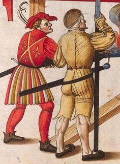 Zeugbuch Kaiser Maximilians I [Book of Emperor Maximilian's Stuff?], BSB Cod.icon.222, 73r, c. 1502; Landsknecht [foot soldier / land soldier]