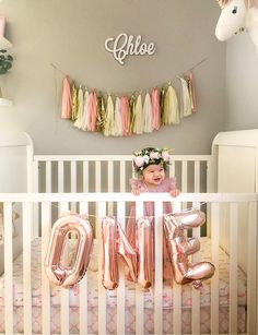 Pink Gold White And Everything Nice - Project Nursery 1 Year Old Birthday Party, 1st Birthday Photoshoot, First Birthday Parties, Birthday Ideas, Birthday Girl Pictures, First Birthday Photos, 1st Birthday Girl Decorations, Birthday Traditions, Baby Girl First Birthday