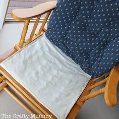 Step by step tutorial on how to cover a chair cushion by sewing a new cover - with a little baby vomit story thrown in! Cushion Cover Pattern, White Cushion Covers, Chair Cushion Covers, Diy Cushion, White Cushions, Glider Rocker Cushions, Outdoor Lounge Chair Cushions, Glider Chair, Wingback Chair Slipcovers