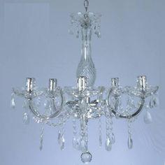 lustre de cristal com 5 braços em acrílico