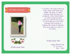 Inside, Half-fold, Printable Mother's Day Card. Easy to change and ...