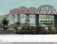 Big Four railroad bridge across the Ohio River between Louisville, Kentucky and Jeffersonville, Indiana.