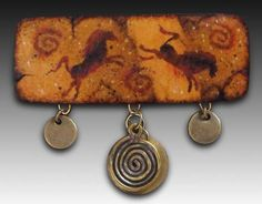 Gourd Broach -  Lulu-Domino? - Try black background and alcohol inks, and acrylic