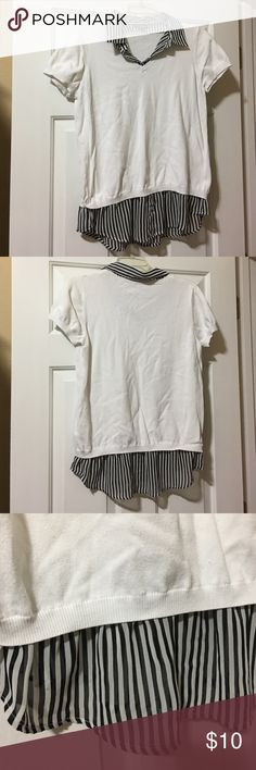 Top Cute white top with attached collar and shirt bottom. One piece. George Tops Tees - Short Sleeve