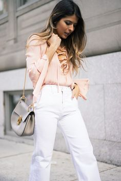 lace-up top, white flare jeans, chloe drew bag, Pam Hetlinger, The Girl From Panama