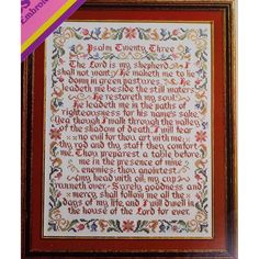 23rd PSALM Sampler Vintage Stamped Cross Stitch Kit VTG Linen 1973 Columbia Minerva by NeedleLittleTherapy on Etsy Vintage Stamps, Linen Fabric, Ribbon Bouquet, Crewel Embroidery Kits, Lord Is My Shepherd, Psalms, Vintage Cross Stitches, Bead Kits, Cross Stitch Kits