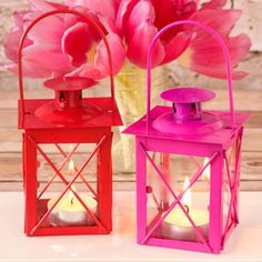 Mini Colored Tealight Lanterns by Beau-coup
