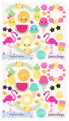 Summer Kawaii Clipart. I had so much fun drawing these flamingos!