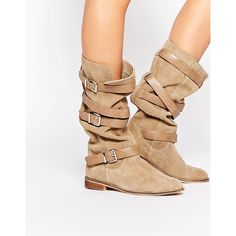 ASOS CANDID Suede Knee High Boots (12640 RSD) ❤ liked on Polyvore featuring shoes, boots, beige, knee high boots, beige suede knee high boots, suede knee high boots, knee length boots and round toe boots
