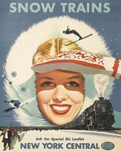 vintage ski poster - Ski Trains