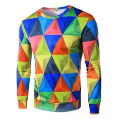 2015 Autumn New Arrival Men's fashion rhombus Pattern Pullover  causal man hoody…