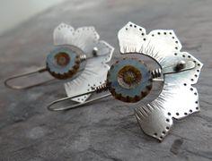 Tribal Lotus Flower Earrings by Lost Sparrow Jewelry