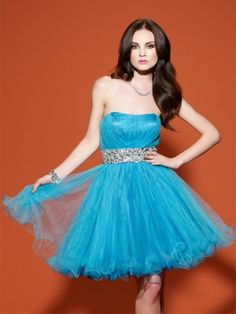 (HUNG0250320)2013 Style A-line Strapless Beading  Sleeveless Knee-length  Tulle   Cocktail Dresses / Homecoming Dresses