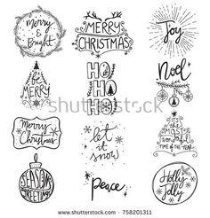 Ideas For Diy Christmas Cards Calligraphy Hand Drawn Christmas Doodles, Christmas Drawing, Diy Christmas Cards, Christmas Signs, Christmas Printables, Xmas Cards, Christmas Art, Merry Christmas Fonts, Christmas Phrases
