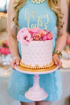 Bridal Shower Cake Idea - Gold and White Cake - Bridal Shower Ideas {Pure Luxe Bride}