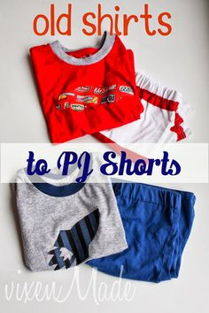 Old Shirts to PJ Shorts Tutorial Diy Shorts, T Shirt And Shorts, Sewing For Kids, Baby Sewing, Sewing Ideas, Sewing Diy, Sewing Tutorials, Sewing Projects, Sewing Patterns