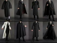 References of different black coats Mode Costume, Drawing Clothes, Mens Fashion, Fashion Outfits, Character Outfits, Costume Design, Aesthetic Clothes, Cool Outfits, Menswear