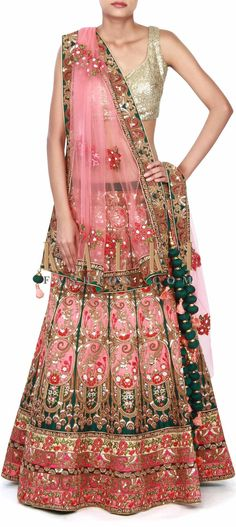 Buy this Pink lehenga adorn in resham and zardosi embroidery only on Kalki