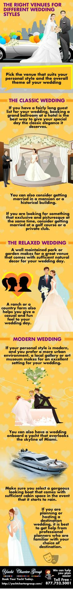 THE RIGHT VENUES FOR DIFFERENT WEDDING STYLES Get more ideas to choose right venues for your weddingvisit: http://yachtchartergroup.com/