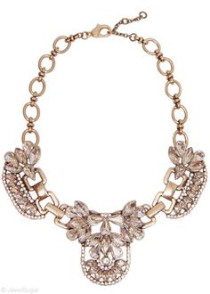Crystal Ice Station Necklace in Gold   antique brass pavé cubic zirconia + glass crystal statement necklace   JewelSugar $38
