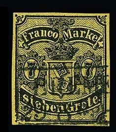 Philasearch.com - Old German States Bremen, Michel 3. 7 Gr. black / yellow olive, thin paper, cancelled extremely fine copy, a plethora of signs, amongst other things Pfenninger. Michel 1100,-  Dealer Rauhut & Kruschel Stamp auction  Auction Starting Price: 300.00 EUR