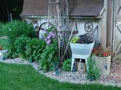 Crocks & wash tub made into planters. Old farm tools hanging on the shed.