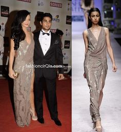 Amy Jackson, at the Screen Awards, wearing a nude-colored, sequined Namrata Joshipura gown w/ high slit, from Joshipura's Spring Summer 2012 collection