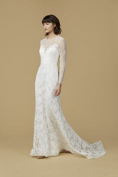 """""""Roxanne"""" Lace Wedding Dress: Long Sleeve Gown with Chantilly Lace"""