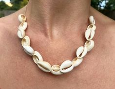 Gold Shell Necklace - Cowrie Sea Shell and 9ct Gold Belcher Chain Necklace