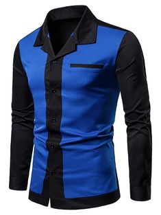 Color Block Faux Chest Pocket Shirt - Blue - - Men's Clothing, Men's Tops & T-Shirts, Men's Shirts # # African Dresses Men, African Clothing For Men, Nigerian Men Fashion, African Men Fashion, Chemise Fashion, Suit Fashion, Mens Shirts Sale, Men's Shirts, Mode Costume