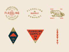 Fledgling Southwest designed by JP Burcks. Connect with them on Dribbble; Typo Logo, Logo Branding, Branding Design, Corporate Design, Brochure Design, Vintage Graphic Design, Graphic Design Typography, Typographie Logo, Badge Logo