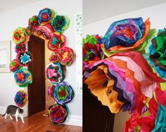 DIY colorful fiesta flowers for your next party. Perfect for Cinco de Mayo… Crafts For Kids, Arts And Crafts, Paper Crafts, Diy Crafts, Aunt Peaches, Photo Deco, Ideias Diy, Tissue Paper Flowers, Festa Party